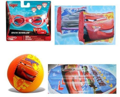 Cars Summer Fun Pool Set - Goggles Beach Ball Swim Raft Arm Floats by Disney Pixar