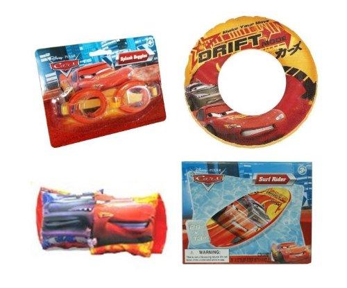 Cars Summer Fun Pool Set - Goggles Surf Rider Swim Raft Arm Floats Swim Ring