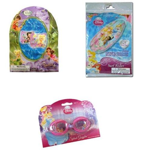 Disney PrincessFairies Summer Fun Pool Set - Surf Rider Swim Raft Splash Goggles Arm Floats
