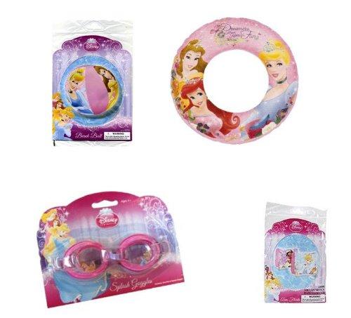 Disney Princess Summer Fun Pool Set - Goggles Beach Ball Swim Ring Arm Floats