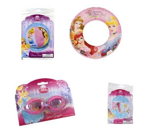 Disney Princess Summer Fun Pool Set - Goggles Beach Ball Swim Ring Arm Floats by Disney Princess