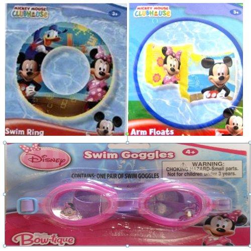 Mickey and Minnie Summer Fun Pool Set - Swim Ring Goggles Arm Floats