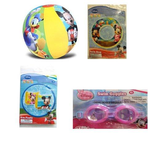 Mickey and Minnie Summer Fun Pool Set - Swim Ring Goggles Arm Floats Beach Ball