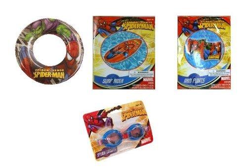 Spiderman Summer Fun Pool Set - Goggles Arm Floats Surf Rider Swim Raft Swim Ring by Marvel