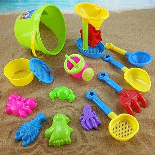 Sangdo New Beach Sand Water Toy Set Children Sandbox Shovel Bucket Tools 14PCs Random