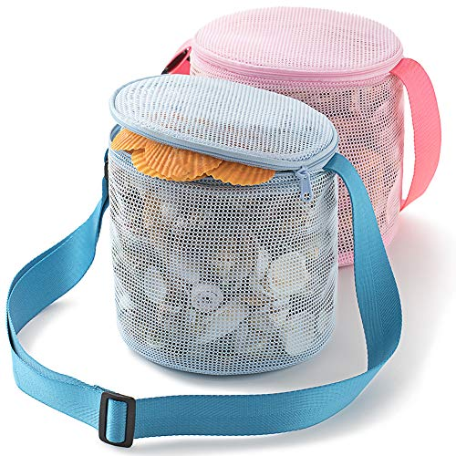Tenrai Seashell Mesh Tote Shell Bag Beach Toy Bag Toy Bags Kids Sandboxes Nets Bag 7 Blue Pink 2 Packs