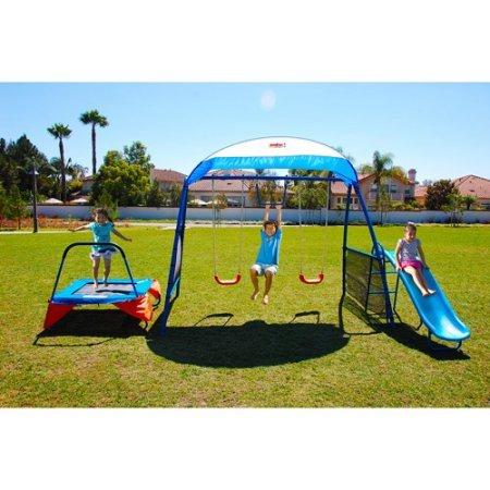 IronKids 8101 Inspiration 250 Fitness Playground Metal Swing Set 2 Powder-Coated Tubular Steel 42 Fitness Jumper Trampoline Blue