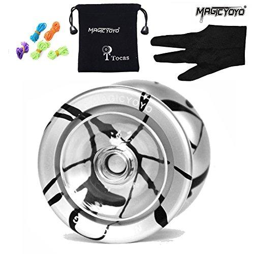 MAGICYOYO N9 Unresponsive Professional Floating Cloud N9 Aluminum Alloy Yo-yos Ball 5 Strings Glove and Yoyo Bag Silver with Black