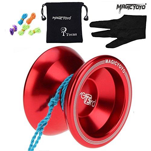 MAGICYOYO T5 Overlord Aluminum Professional Yo-Yos Yoyo balls with 5 Strings  Gloves  Bag -- Red