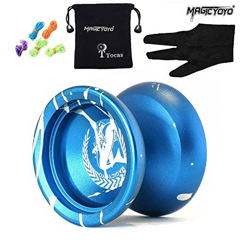 TocasMagic YOYO N12 Alloy Aluminum Metal Professional Yo-yos Toy Yo Yo Ball with 1 Gloves And 5 Strings-Blue With White