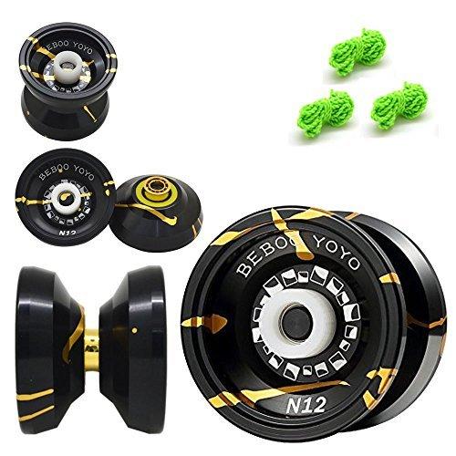 Beboo YoYo N12 Alloy Aluminum Professional Unresponsive Yo-Yo Toy Made With Handmade Black With Golden