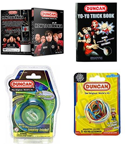 Duncan Intermediate YoYo Kit 4 Items - Blue Hornet Yo-Yo Multi-Color Yo-Yo String 5 Pack Yo-Yo Trick Book and How To Be A Yo-Yo Ninja DVD