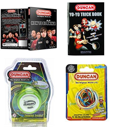 Duncan Intermediate YoYo Kit 4 Items - Green Hornet Yo-Yo Multi-Color Yo-Yo String 5 Pack Yo-Yo Trick Book and How To Be A Yo-Yo Ninja DVD