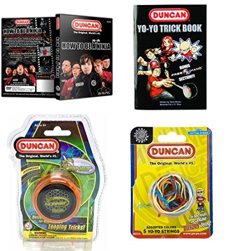Duncan Intermediate YoYo Kit 4 Items - Orange Hornet Yo-Yo Multi-Color Yo-Yo String 5 Pack Yo-Yo Trick Book and How To Be A Yo-Yo Ninja DVD