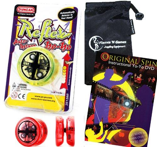 Duncan Reflex Auto-Return YoYo Green Professional YoYo with Travel Bag  75 Yo-Yo Tricks DVD Pro YoYos For Kids and Adults