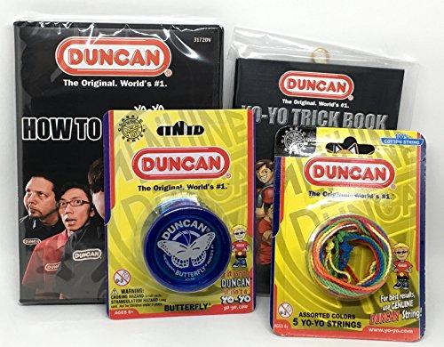 Duncan Beginner YoYo Kit 4 Items - Blue Butterfly Yo-Yo Multi-Color Yo-Yo String 5 Pack Yo-Yo Trick Book and How To Be A Yo-Yo Ninja DVD