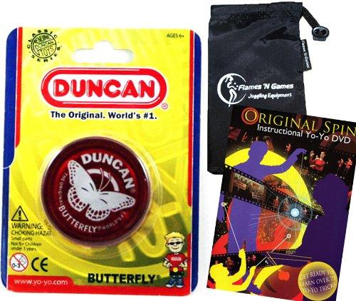 Duncan Butterfly YoYo Red Beginners Entry-Level Yo Yo with Travel Bag  75 Yo-Yo Tricks DVD Great YoYos For Kids and Adults