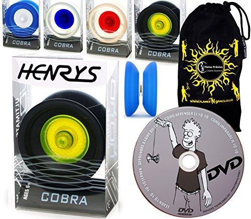 Henrys COBRA YoYos - Professional YoYo Set  LEARN Yo Yo Tricks DVD Travel Bag Supreme Pro YoYos For Kids Adults BlackYellow by Henrys YoYos