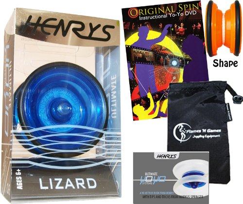 Henrys LIZARD YoYo Blue Professional YoYo Set with Instructional Booklet of Tricks  75 Yo-Yo Tricks DVD Travel Bag Pro YoYos For Kids and Adults
