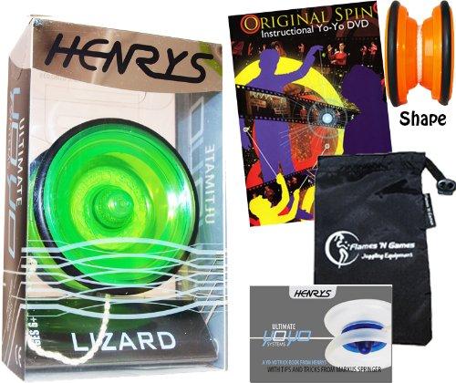 Henrys LIZARD YoYo Green Professional YoYo Set with Instructional Booklet of Tricks  75 Yo-Yo Tricks DVD Travel Bag Pro YoYos For Kids and Adults