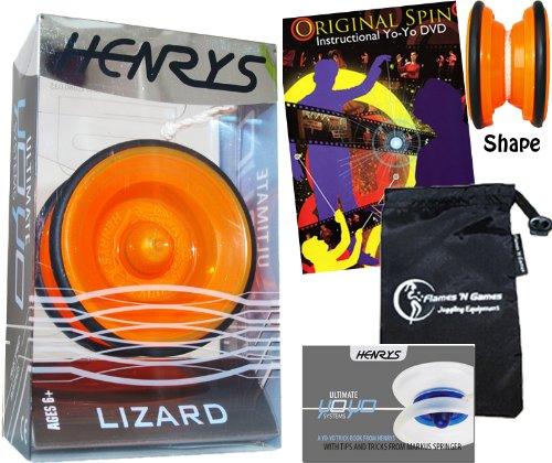 Henrys LIZARD YoYo Orange Professional YoYo Set with Instructional Booklet of Tricks  75 Yo-Yo Tricks DVD Travel Bag Pro YoYos For Kids and Adults