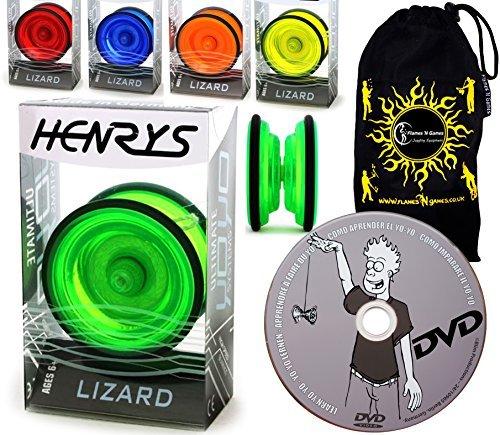 Henrys LIZARD YoYo - Professional Yo Yo Set  LEARN Yo-Yo Tricks DVD Travel Bag Pro YoYos For Kids Adults Green by Henrys YoYos