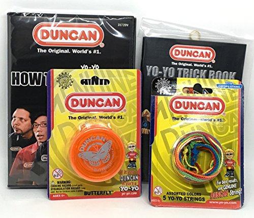 Duncan Beginner YoYo Kit 4 Items - Orange Butterfly Yo-Yo Multi-Color Yo-Yo String 5 Pack Yo-Yo Trick Book and How To Be A Yo-Yo Ninja DVD