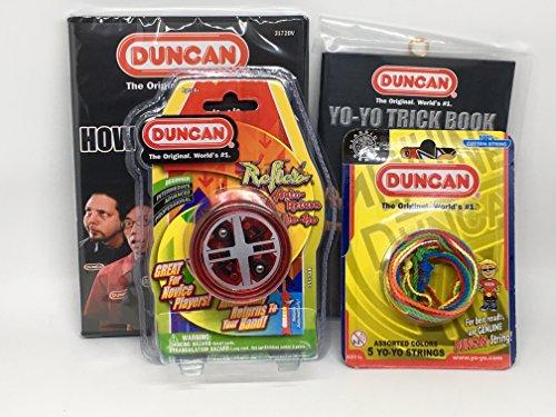 Duncan Beginner YoYo Kit 4 Items - Red Reflex Yo-Yo Multi-Color Yo-Yo String 5 Pack Yo-Yo Trick Book and How To Be A Yo-Yo Ninja DVD