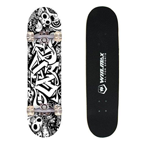 WINMAX 9 Plies Maple Double Kick Concave Decks Grip Tape Skull Standard Skateboard White and Black for PrimaryIntermediate