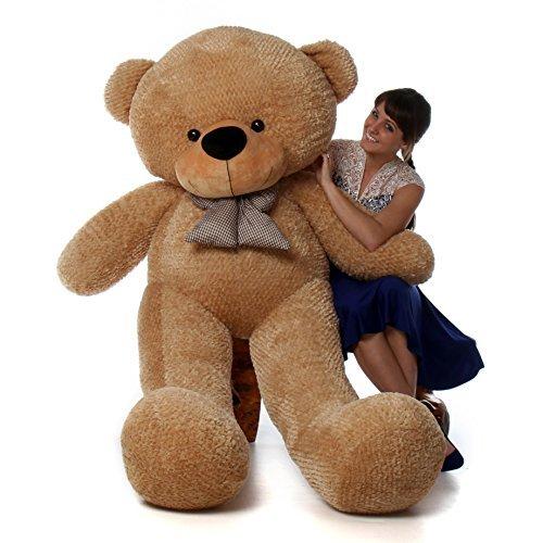 6 Foot Life-size Teddy Bear Amber Brown Color Huge Stuffed Animal Teddybear Shaggy Cuddles by GIANT TEDDY