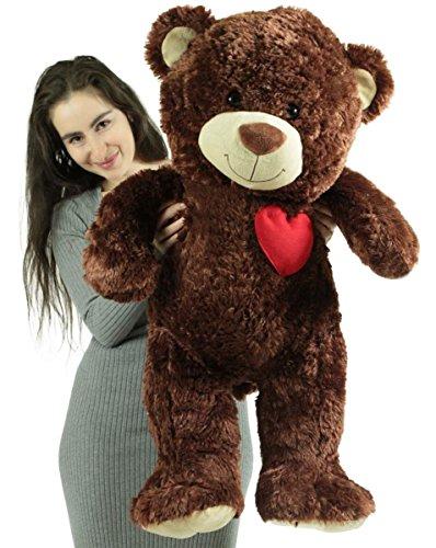 Giant Love Teddy Bear 36 Inch Brown Soft Teddybear with Heart on Chest