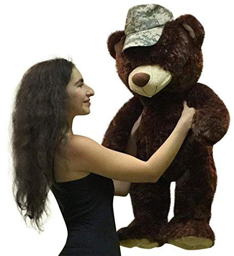 Jumbo Army Teddy Bear 36 inches Brown Soft Teddybear wearing US Army Cap on Head