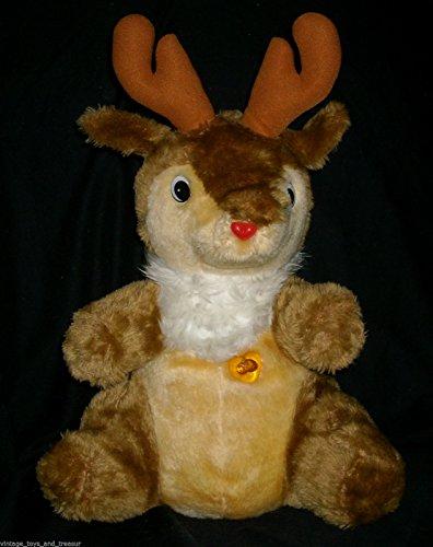 VINTAGE 1986 UIC CHRISTMAS REINDEER MUSICAL STUFFED ANIMAL PLUSH TOY LIGHT UP
