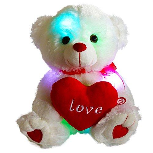 Bstaofy LED Teddy Bear Stuffed Animal Glow Soft Plush Toy Nightlight Companion Gifts for Birthday Valentine Christmas 105 White