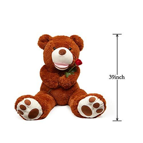 LApapaye 37 Inch Giant Teddy Bears Stuffed Animal Plush Toy with Footprints Life Size Big BearDark Brown