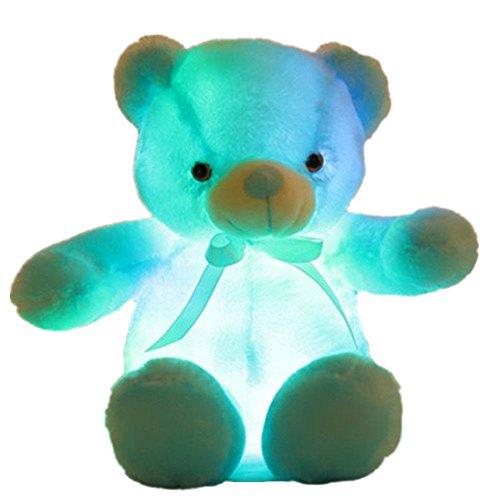 elfishgo Creative Light Up LED Inductive Teddy Bear Stuffed Animals Plush Toy Colorful Glowing Teddy Bear 20- InchBlue