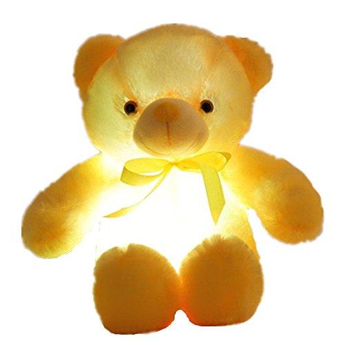 elfishgo Creative Light Up LED Inductive Teddy Bear Stuffed Animals Plush Toy Colorful Glowing Teddy Bear 20- InchYellow