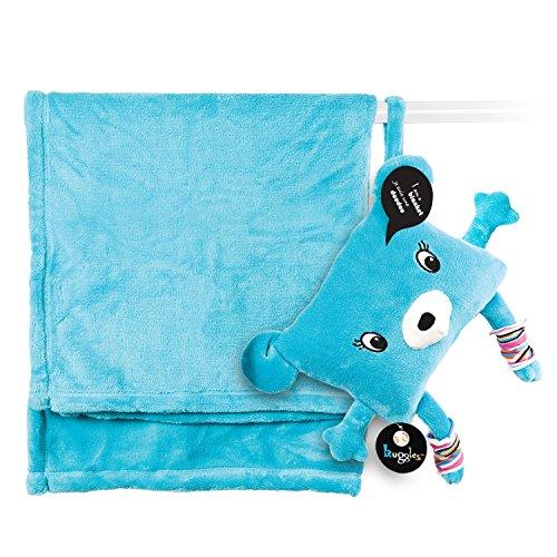 My Friend Huggles Dodo-to-Go 2-Piece Soft Bear Pillow with Hidden Fleece Blanket Blue