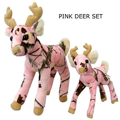 Pink Camo Realtree Deer Set 14 Inch 10 Inch Animal Camouflage Stuffed Animal Soft Plush Dad Daughter Mom Gift
