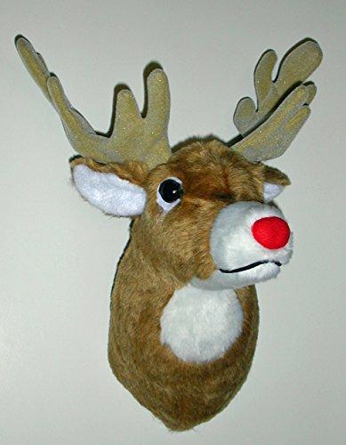 Plush Deer Head Red Medium Deer Head Trophy Mount