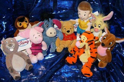 Winnie the Pooh Set of Nine 8 Plush Character Beanies