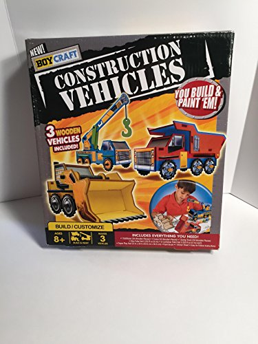 New Boy Craft Construction Vehicles You Build and Paint Em 3 Wooden Vehicles Included Includes Everything You Need