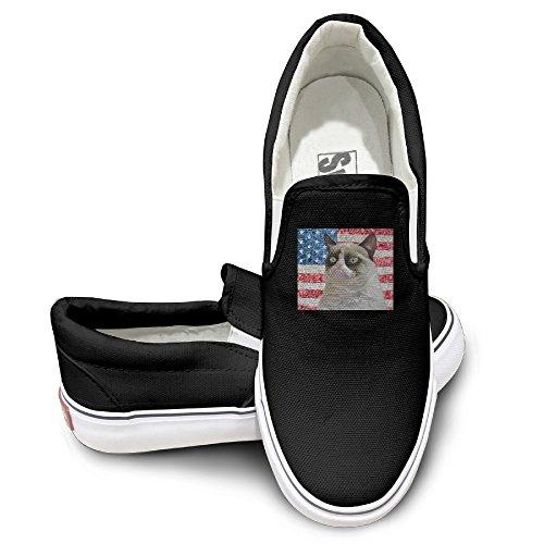ALIPAPA Custom Mens Womens Geek American Flag And A Cat Fashion Shoes Black Size 43