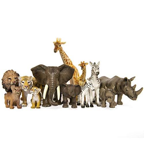 SANDBAR TOYS Safari Animals Set  12 Piece  - Wild Animals Baby Animals Zoo Animals Jungle Animals and African Animals - Educational Child Development Toy - Kids Toddlers Children Toy Figures