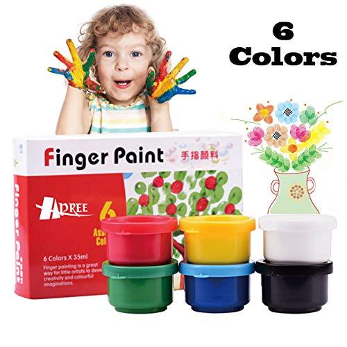 Hapree 6 Colors Finger Paint Washable Non-Toxic Kids Paint Set Finger paints Kit for Toddlers 6 x 35 ml 118 fl oz