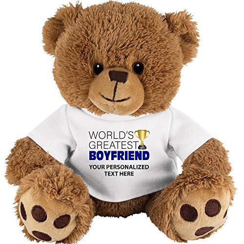 Crown Awards Custom Teddy Bear Gift for Boyfriend 10 Personalized Worlds Greatest Boyfriend Teddy Bear Tshirt with Your Own Engraving