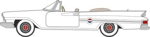 1961 Chrysler 300 Convertible Alaskan White 187 HO Scale Diecast Model Car by Oxford Diecast 87CC61003