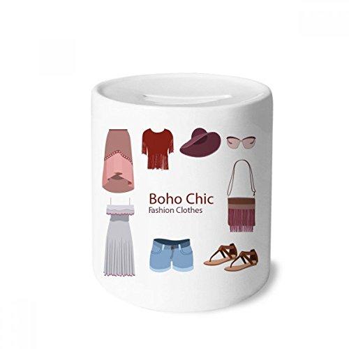 DIYthinker Bohe mia Wind Fashion Clothes Girl Money Box Saving Banks Ceramic Coin Case Kids Adults