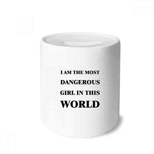 DIYthinker I Am The Dangerous Girl Money Box Saving Banks Ceramic Coin Case Kids Adults