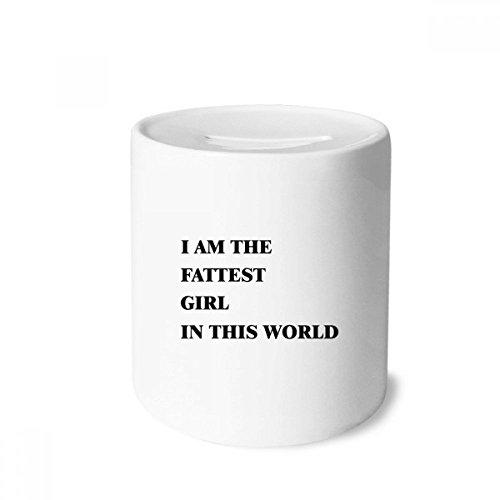DIYthinker I Am The Fattest Girl Money Box Saving Banks Ceramic Coin Case Kids Adults